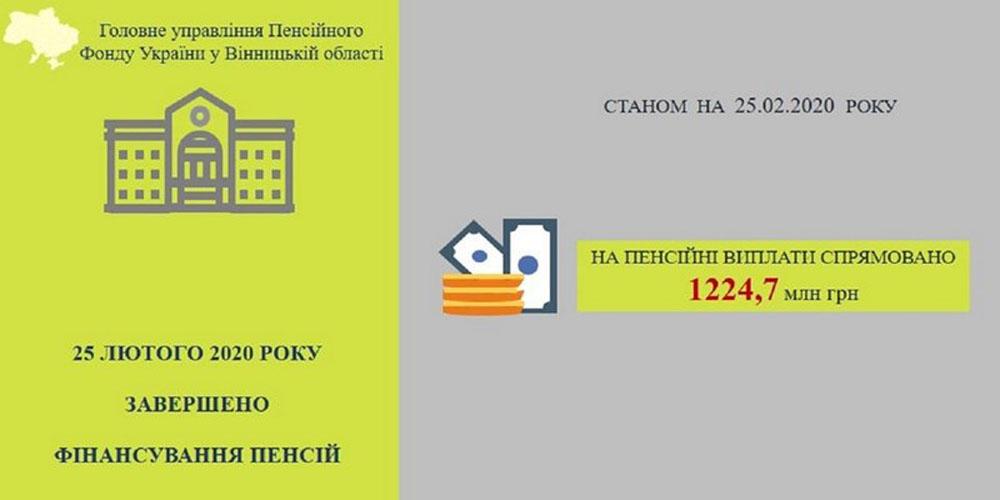 Фінансування пенсій за лютий 2020 року завершено на Вінниччині
